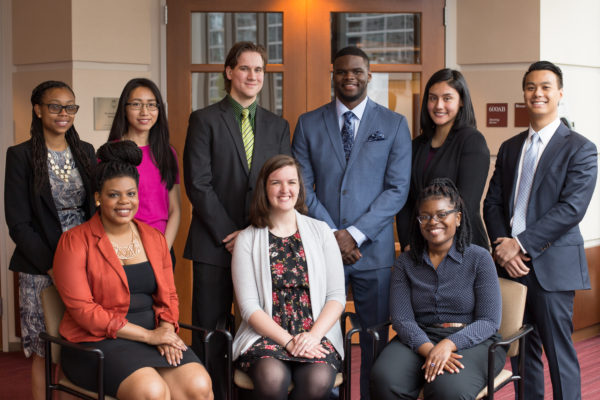 From left to right, back to front: Jasmeen Wellere, Angela Fong, Christopher Nowak, Corie Wilkins, Maribell Heredia, Billy Leung, Tyrianna Jones, Alyssa Zediker, Asia Muhammad